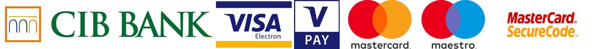Elfogadható bankártyák: CIB, MasterCard, Maestro, VISA