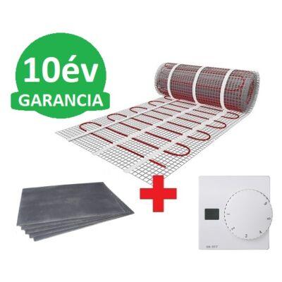 10 m2 U-HEAT fűtőszőnyeg +  10,2 m2 U-HEAT polisztirol szigetelő lap + U-HEAT Manuális fali termosztát szett