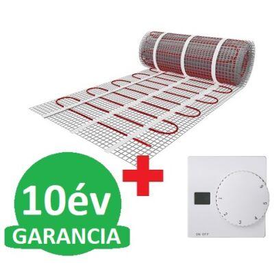 U-HEAT fűtőszőnyeg 2 m2 = 300 W + U-HEAT Manuális fali termosztát padlóhőmérséklet szenzorral szettben